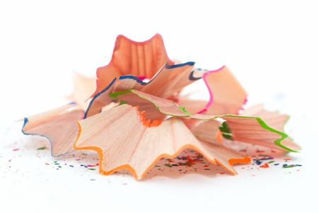 Pencil shavings isolated on white