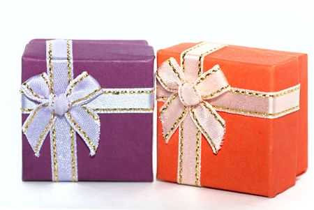 Two colored gift boxes isolated on white Stock Photo