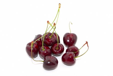 Cherries with green stems