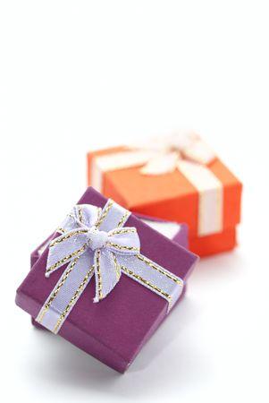 diagonally: Two gift boxes diagonally isolated on white Stock Photo