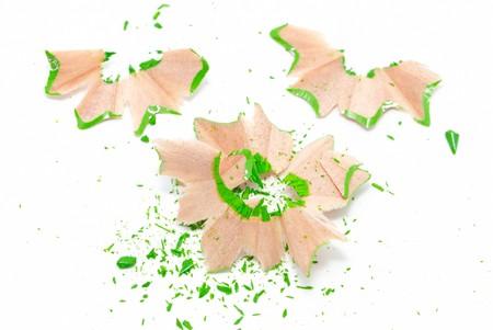 Green shavings isolated on white