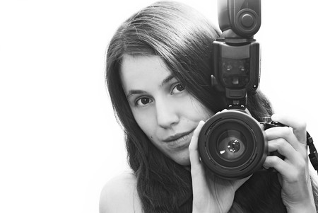 Girl with camera, self-portrait photo
