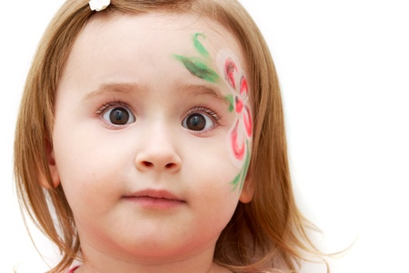 faceart: Adorable little girl with face-art isolated on white Stock Photo