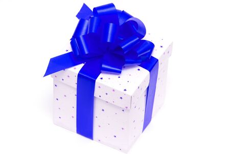 White gift box with blue ribbon isolated on white Stock Photo