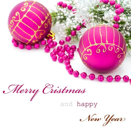 pink christmas: Christmas greeting card with simple text Stock Photo
