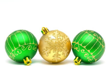 Christmas decorations - balls on a white background with space for text Stock Photo
