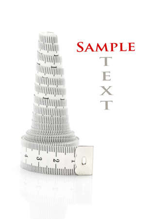 Rolled tape measure isolated on white (with sample text)