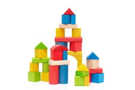 Wooden building blocks isolated on white background Stock Photo - 9006481
