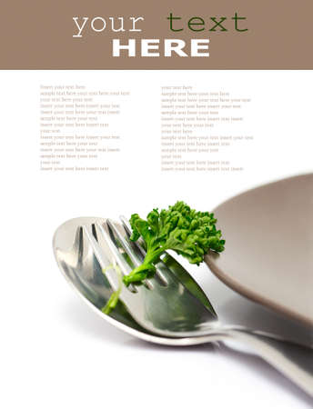 Parsley with fork and spoon isolated on a white background (with sample text) Stock Photo