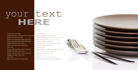 Stack of brown round plates with spoon and fork (with sample text)