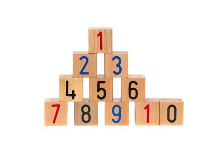 Wooden blocks with numbers on white background