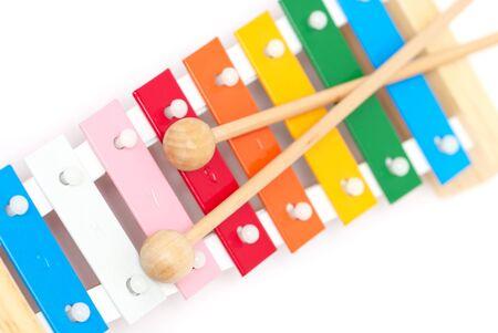 tuneful: Colorful xylophone isolated on white background
