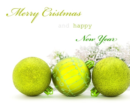 Christmas greeting card with yellow baubles and sample text