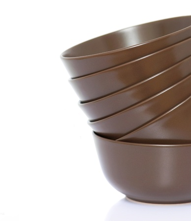 Stack of bowls (with empty space) Stock Photo