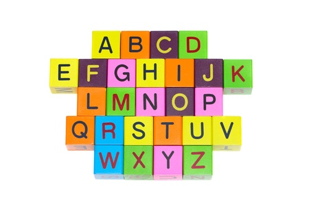 Wooden blocks with letters and numbers on white background Stock Photo - 9298333