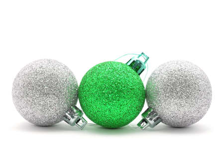Sparkle christmas baubles isolated on white