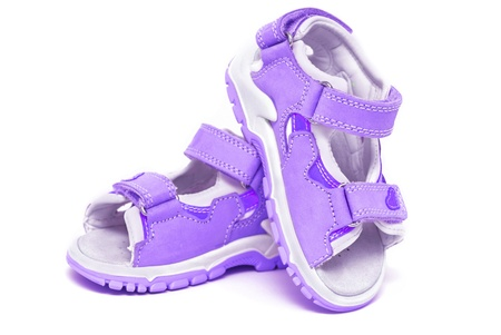 sandals isolated: Purple childs sandals isolated on white