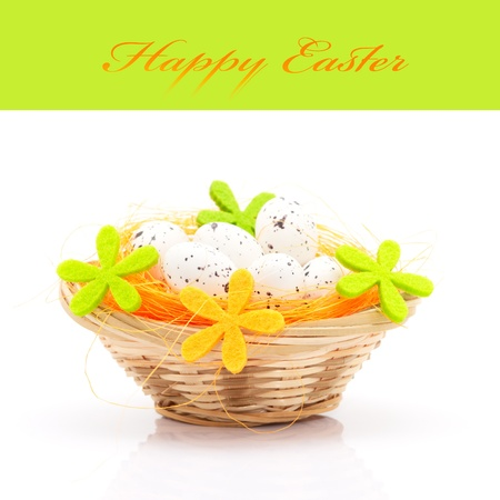 Easter eggs in basket isolated on white background (with space for text) Stock Photo