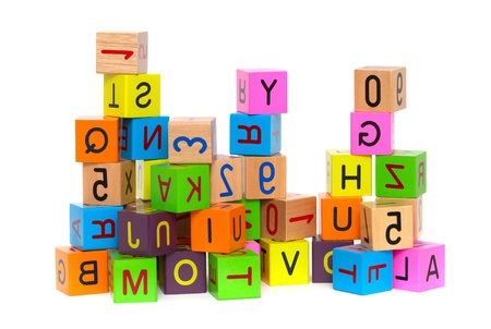 Wooden blocks with letters and numbers on white background Stock Photo - 9711283