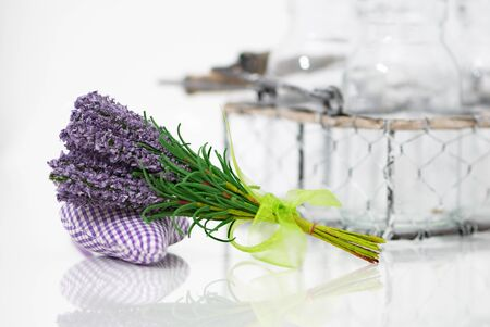 herbalism: Bunch of lavender flower on an aromatic pillow with a reflection