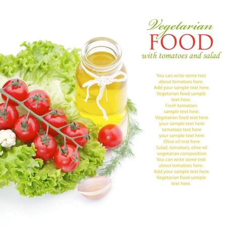 sample text: Verduras frescas aisladas en blanco con texto de ejemplo Foto de archivo
