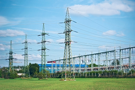 Line of high voltage electric converters equipment at a power plant photo