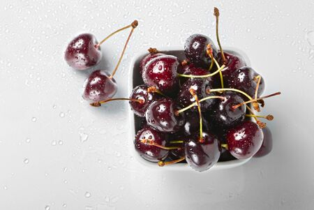 Fresh cherries, view from above