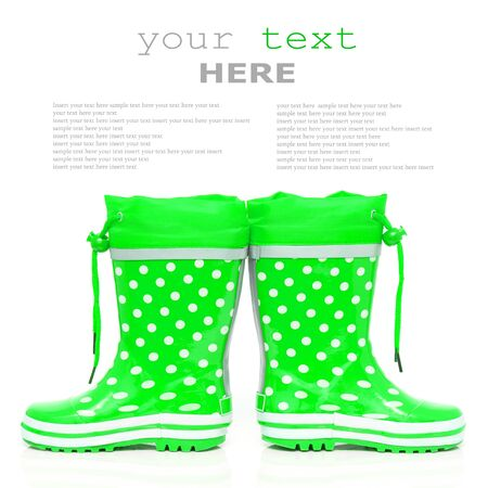 wellie: Green rubber boots for kids isolated on white background