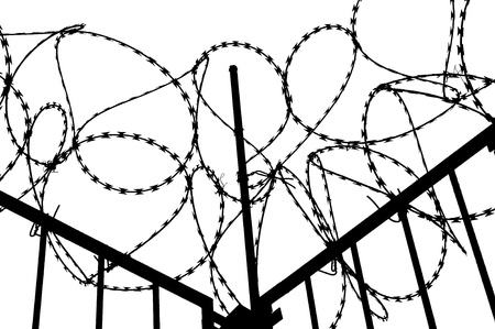 Barbed wire with fence on white background