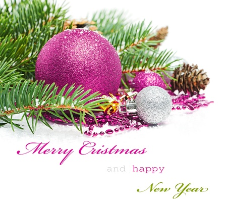 text pink: Christmas greetings card Stock Photo