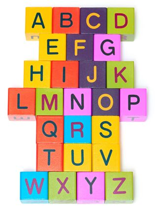 Wooden blocks with letters on white background