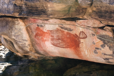 Aboriginal rock art of the Gagudju people of Northern Australia, one of the oldest continuing cultures on the planet  This art is between 5,000 and 15,000 years old Stock Photo
