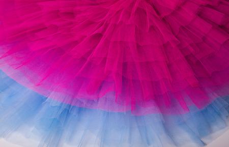 Hot pink and baby blue netting from a ballet tutu dress. Stock Photo