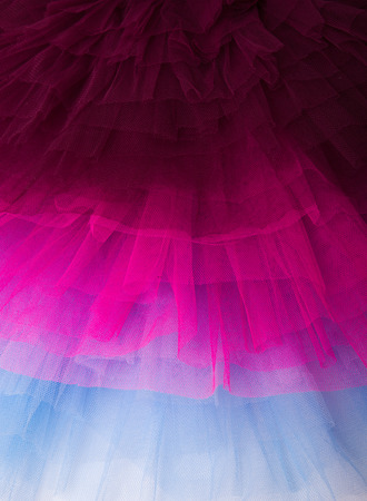 netting: Maroon Baby blue and hot pink netting from a ballet tutu dress. Stock Photo