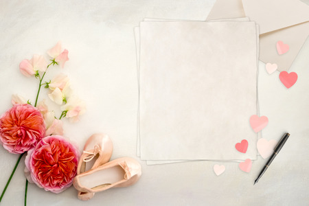 stock photography: Pretty Styled Desktop Mockup flatlay stock photography, hand painted background, copy space, great for lifestyle  and small businesses, also could be used for wedding invitation, celebration announcement
