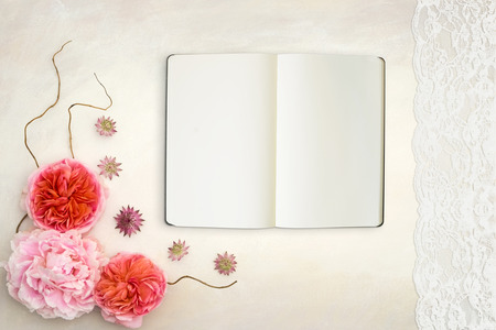 stock photography: Pretty Styled Desktop Mockup flatlay stock photography, with notebook, hand painted background, great for lifestyle   and small businesses
