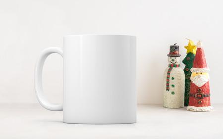 White blank coffee mug Christmas theme mock up to add custom design or quote.