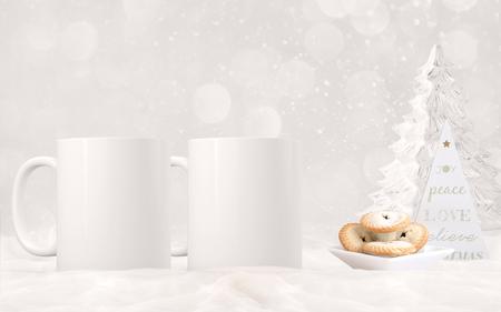 2 white blank coffee mugs Christmas theme mock up.