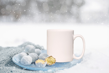 White Mug Mockup - Winter theme. Perfect for businesses selling mugs, just overlay your quote or design on to the image.