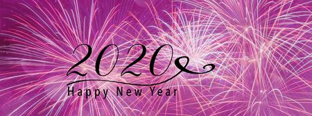 New Year Holiday 2020 background banner with fireworks and seasonal quote. Scales to fit a social media header. Perfect for social media influencers and bloggers. Banco de Imagens