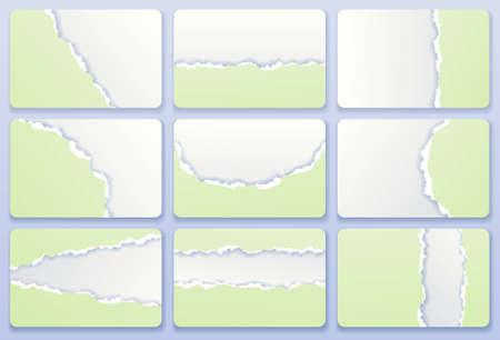 snippet: Torn paper business cards, vector set Illustration