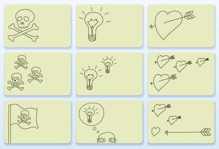 poison arrow: Set of nine doodle business cards, vector illustration Illustration