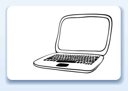 computer art: Business card with drawing of a laptop