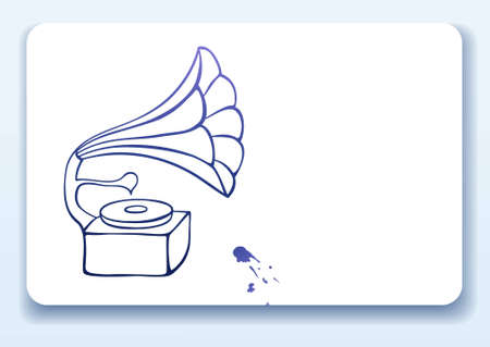 gramophone: Business card with drawing of an old gramophone Illustration