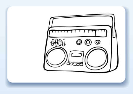 Business card with drawing of a retro radio Vector