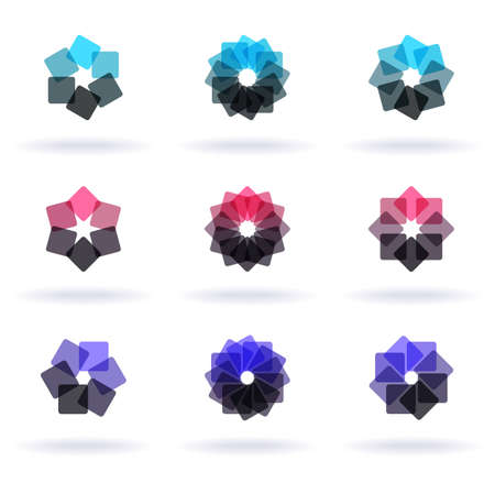 Set of nine flower elements, vector illustration