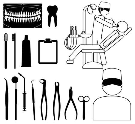 Dentist, medical icon set with black pictograms on white