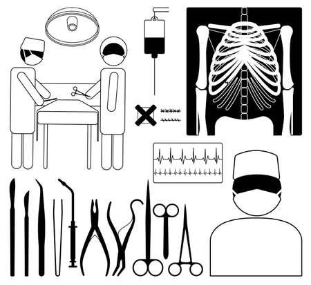 chirurgo: Set di icone medico chirurgia, nero su bianchi pittogrammi