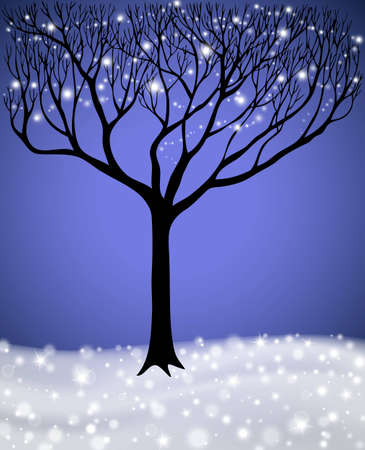 Tree with lights in winter season, vector illustration Vector