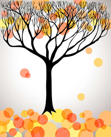 Autumn tree with falling leaves, vector illustration Vector